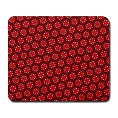 Red Passion Floral Pattern Large Mousepads
