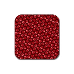 Red Passion Floral Pattern Rubber Coaster (square)  by DanaeStudio
