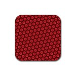 Red Passion Floral Pattern Rubber Square Coaster (4 pack)