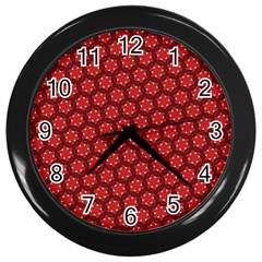 Red Passion Floral Pattern Wall Clocks (black) by DanaeStudio
