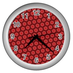 Red Passion Floral Pattern Wall Clocks (silver)  by DanaeStudio
