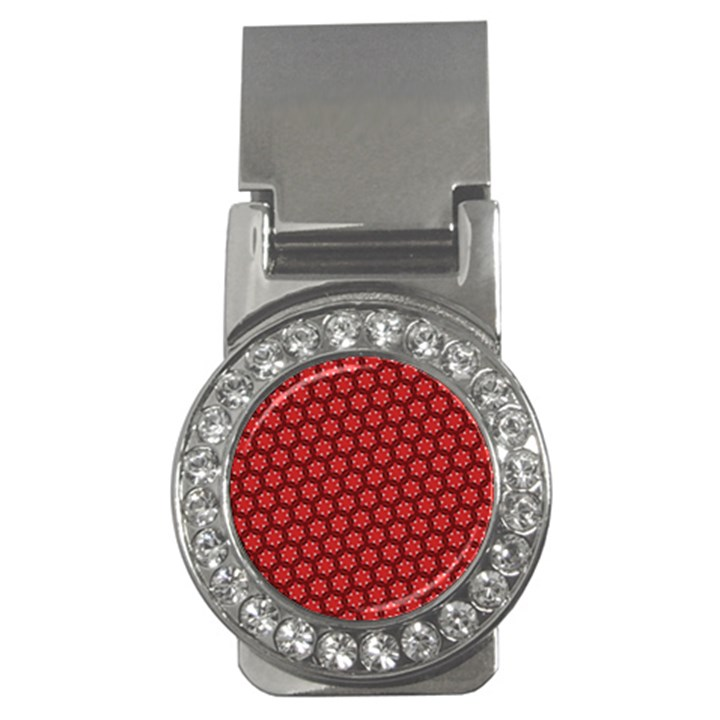 Red Passion Floral Pattern Money Clips (CZ)