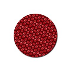 Red Passion Floral Pattern Rubber Coaster (round)  by DanaeStudio