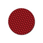 Red Passion Floral Pattern Rubber Coaster (Round)