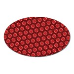 Red Passion Floral Pattern Oval Magnet Front