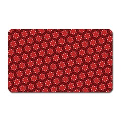 Red Passion Floral Pattern Magnet (rectangular) by DanaeStudio