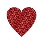 Red Passion Floral Pattern Heart Magnet