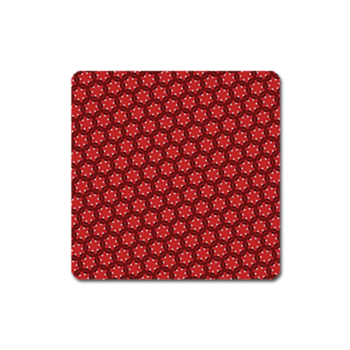 Red Passion Floral Pattern Square Magnet