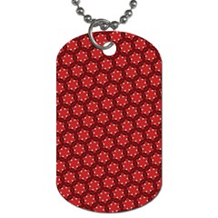 Red Passion Floral Pattern Dog Tag (one Side) by DanaeStudio