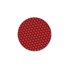 Red Passion Floral Pattern Golf Ball Marker by DanaeStudio