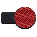 Red Passion Floral Pattern USB Flash Drive Round (2 GB)