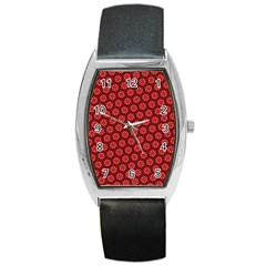 Red Passion Floral Pattern Barrel Style Metal Watch by DanaeStudio