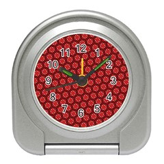 Red Passion Floral Pattern Travel Alarm Clocks by DanaeStudio