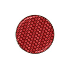 Red Passion Floral Pattern Hat Clip Ball Marker by DanaeStudio