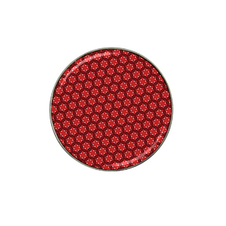 Red Passion Floral Pattern Hat Clip Ball Marker (4 pack)