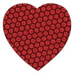 Red Passion Floral Pattern Jigsaw Puzzle (heart) by DanaeStudio