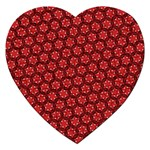 Red Passion Floral Pattern Jigsaw Puzzle (Heart)