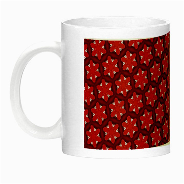 Red Passion Floral Pattern Night Luminous Mugs