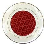 Red Passion Floral Pattern Porcelain Plates