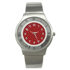 Red Passion Floral Pattern Stainless Steel Watch by DanaeStudio