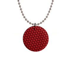 Red Passion Floral Pattern Button Necklaces by DanaeStudio