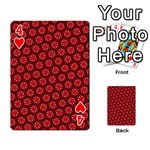 Red Passion Floral Pattern Playing Cards 54 Designs  Front - Heart4