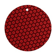 Red Passion Floral Pattern Round Ornament (two Sides)