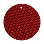 Red Passion Floral Pattern Round Ornament (Two Sides)  Back