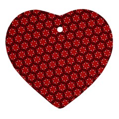 Red Passion Floral Pattern Heart Ornament (2 Sides) by DanaeStudio