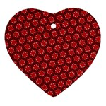 Red Passion Floral Pattern Heart Ornament (2 Sides) Front