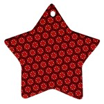 Red Passion Floral Pattern Star Ornament (Two Sides)  Back