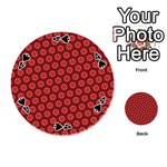 Red Passion Floral Pattern Playing Cards 54 (Round)  Front - Spade4