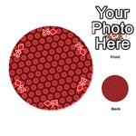 Red Passion Floral Pattern Playing Cards 54 (Round)  Front - DiamondK