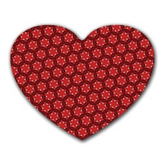 Red Passion Floral Pattern Heart Mousepads by DanaeStudio
