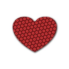 Red Passion Floral Pattern Rubber Coaster (heart)  by DanaeStudio