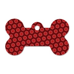 Red Passion Floral Pattern Dog Tag Bone (one Side) by DanaeStudio