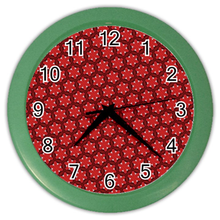 Red Passion Floral Pattern Color Wall Clocks