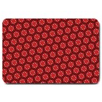 Red Passion Floral Pattern Large Doormat