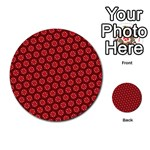 Red Passion Floral Pattern Multi-purpose Cards (Round)  Back 4