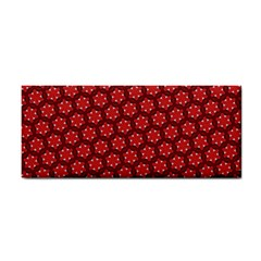 Red Passion Floral Pattern Hand Towel by DanaeStudio