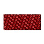Red Passion Floral Pattern Hand Towel