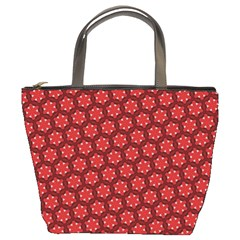 Red Passion Floral Pattern Bucket Bags