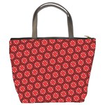 Red Passion Floral Pattern Bucket Bags Back