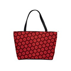 Red Passion Floral Pattern Shoulder Handbags by DanaeStudio