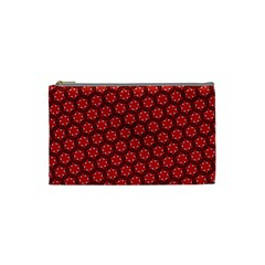 Red Passion Floral Pattern Cosmetic Bag (small)  by DanaeStudio