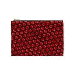 Red Passion Floral Pattern Cosmetic Bag (medium)  by DanaeStudio