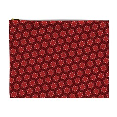 Red Passion Floral Pattern Cosmetic Bag (xl) by DanaeStudio