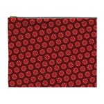 Red Passion Floral Pattern Cosmetic Bag (XL)