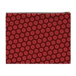 Red Passion Floral Pattern Cosmetic Bag (XL) Back
