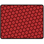 Red Passion Floral Pattern Fleece Blanket (Medium)